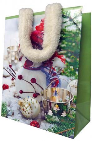 Пакет подарочный бумажный ламинированный, 180х230х98 мм, с аппликацией, с меховыми ручками росмэн пакет подарочный маша новогодняя 230 180 100