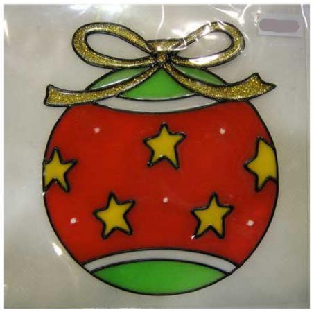 Наклейка-панно гелевая, декоративная, на стекло, 1 шт. в пакете, 11х14 см, 3 вида наклейка