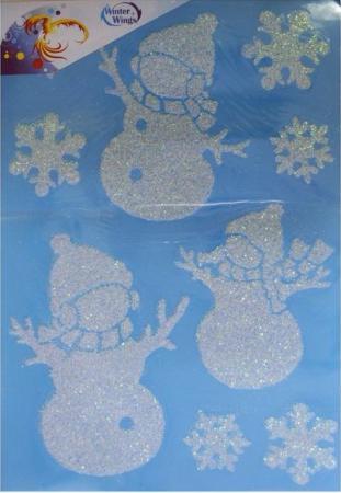 Наклейка Winter Wings панно Снежные узоры, прозрачная, с блестящей крошкой 49х46 см N09211 наклейка winter wings панно снеговики 29 5x29 2 см n09289