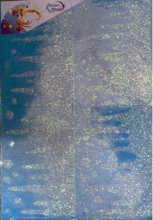 Наклейка панно СОСУЛЬКИ, прозрачная, с блестящей крошкой, 49х69 см, ПВХ наклейка