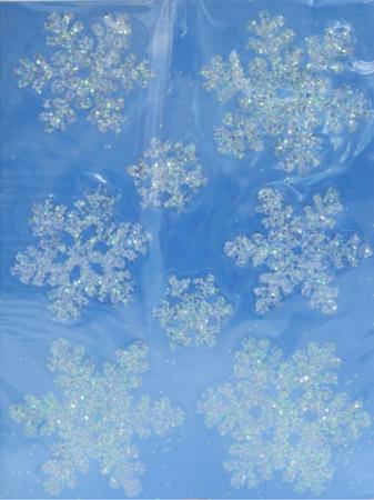 Наклейка Winter Wings панно Снежинки, прозрачная, с блестящей крошкой 29х40 см N09214 цена