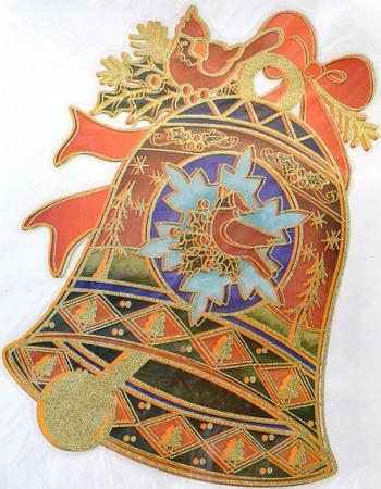 Наклейка Winter Wings панно Колокольчик с птицей, прозрачная цветная с блестящей крошкой 20x26 см N09219 наклейка