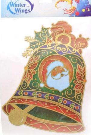 Наклейка Winter Wings панно Колокольчик, прозрачная, с блестящей крошкой 20x26 см N09220 наклейка