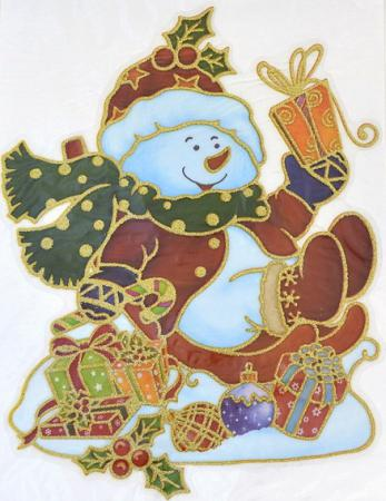 Наклейка Winter Wings панно Снеговик, прозрачная, с блестящей крошкой 20x26 см N09221 наклейка декоративная елка с блестящей крошкой 24 18 см пвх