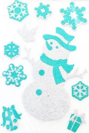 Наклейка Winter Wings панно Снеговик, прозрачная цветная с блестящей крошкой, 20х30 см наклейка декоративная елка с блестящей крошкой 24 18 см пвх
