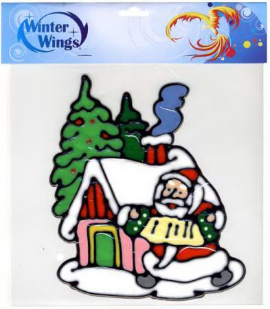 Наклейка Winter Wings Дед мороз у домика 20 см N09316
