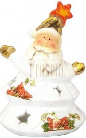 Подсвечник ДЕД МОРОЗ с цветком, полирезин, 11х13 см, 1 вид цена и фото