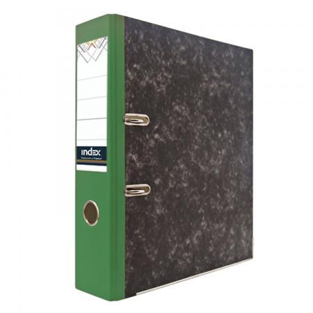 Папка-регистратор под мрамор, 80 мм, А4, корешок зеленый IND 8 BH ЗЕЛ/24