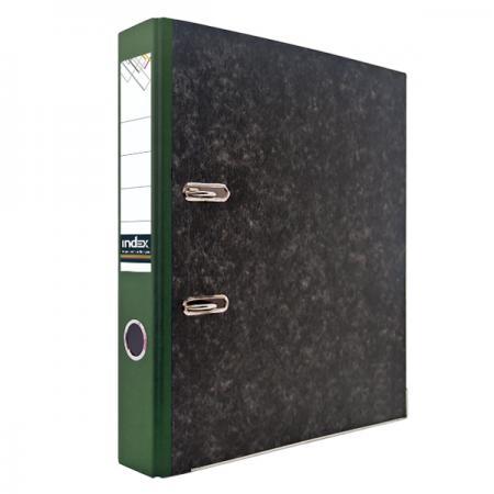 Папка-регистратор под мрамор, 50 мм, А4, корешок зеленый