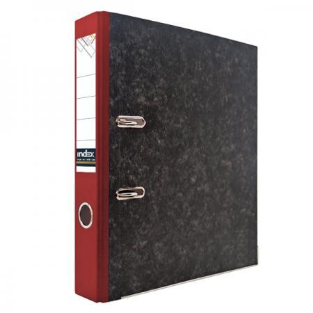 Папка-регистратор под мрамор, 50 мм, А4, корешок красный