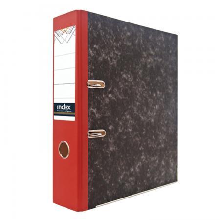 Папка-регистратор под мрамор, 80 мм, А4, корешок красный