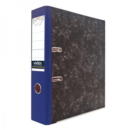 Папка-регистратор под мрамор, 80 мм, А4, корешок синий