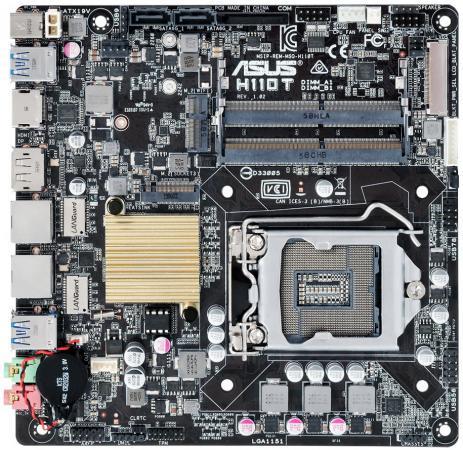 Материнская плата ASUS H110T Socket 1151 H110 2xDDR4 2xSATAIII mini-ITX Retail материнская плата asus h110i plus socket 1151 h110 2xddr4 1xpci e16x 4xsata3 d sub dvi hdmi 4xusb3 0 d sub dvi hdmi glan mini itx ret