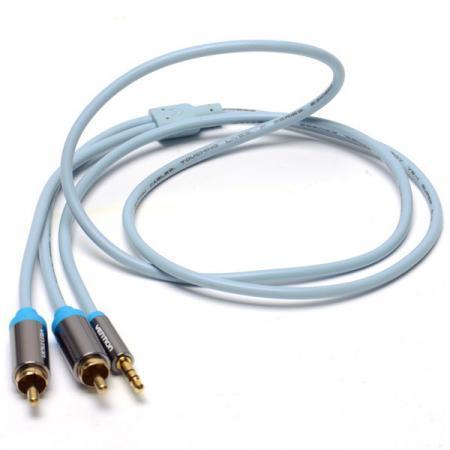 Кабель 2.0м Vention 3.5 Jack (M) - 2xRCA (М) серый P550AC200-S кабель jack jack vention кабель minijack jack 2 m