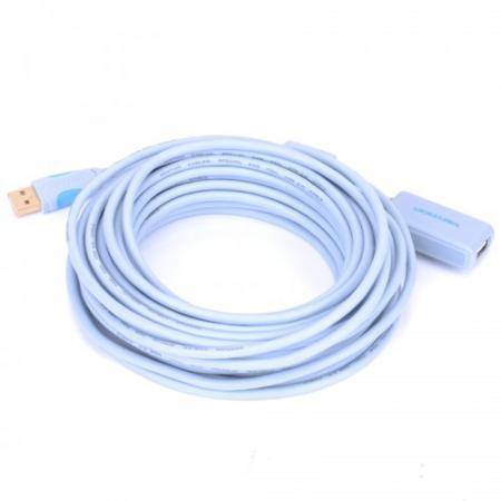 Кабель удлинительный USB 2.0 AM-AF 10.0м Vention VAS-C01-S1000 с усилителем vention usb к ps2 адаптер для клавиатуры мыши vas c03 s