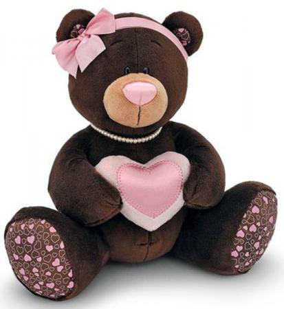 Мягкая игрушка медведь ORANGE девочка Choco&Milkс с сердцем 30 см коричневый плюш М003/30 пес барбоська с сердцем 30 в коробке orange toys