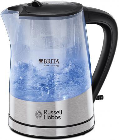 Чайник Russell Hobbs Purity Brita Maxtra 2200 Вт серебристый 1 л металл/пластик 22850-70 чайник russell hobbs 18944 70 2200 вт 1 7 л нержавеющая сталь серый