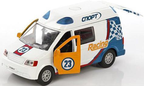 Автомобиль Пламенный мотор Ралли Спор 1:32 белый откр.двери, свет, звук бетономешалка пламенный мотор 1 32 бетономешалка строй транс 20 см оранжевый