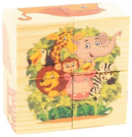 Кубики Русские деревянные игрушки Зоопарк 4 шт Д493а