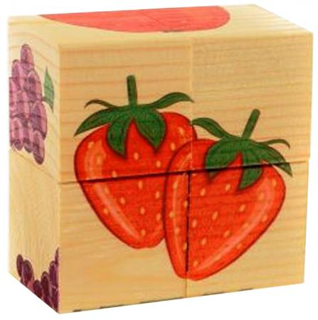 Кубики Русские деревянные игрушки Фрукты 4 шт Д479а