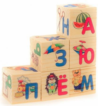 Кубики Русские деревянные игрушки Азбука 6 шт. Д489а