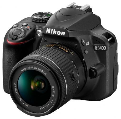 Зеркальная фотокамера Nikon D3400 18-55mm 24.2Mp черный VBA490K002 фотоаппарат nikon d3400 kit 18 55 mm af p black