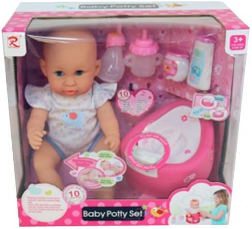 цена на Пупс Shantou Gepai Baby Potty в синем боди 40 см со звуком писающая пьющая 8933