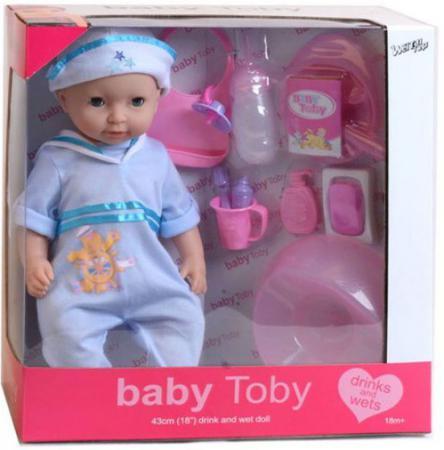 купить Пупс Shantou Gepai Baby Toby в голубом костюмчике 43 см писающая пьющая 30809-9 дешево