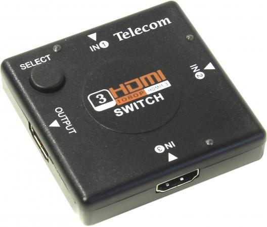Переключатель HDMI 3 - 1 Telecom TTS6030 кабель питания для ноутбуков 3 0м vcom telecom ce022 cu0 5 3m