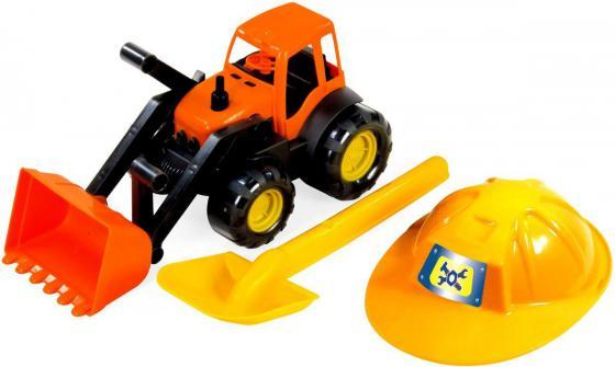 Игровой набор ZEBRATOYS Трактор c каской и лопатой оранжевый 15-10593 машина zebratoys трактор c каской и лопатой 15 10593