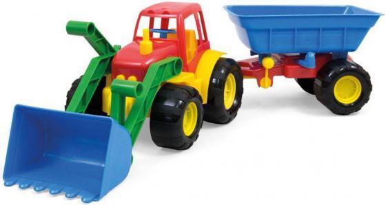 Трактор ZEBRATOYS ACTIVE с ковшом и прицепом 59 см разноцветный 15-5212 машина zebratoys трактор с прицепом active 15 5229