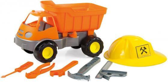 Игровой набор ZEBRATOYS Самосвал c каской и инструментами оранжевый 15-10688 машина zebratoys трактор c каской и лопатой 15 10593