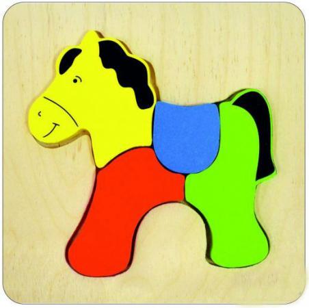 Купить Пазл деревянный 4 элемента alatoys Лошадка ПЗЛ1804, Пазлы