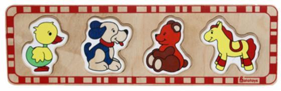 Купить Рамка-вкладыш 5 элементов alatoys Утка, собака, медведь, лошадка ПЗЛ1001, Пазлы