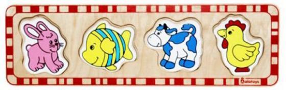 """Рамка-вкладыш 5 элементов alatoys """"Заяц, рыбка, корова, петух"""" ПЗЛ1002 цены"""