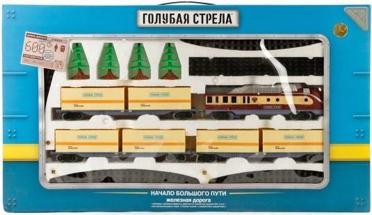 Железная дорога Голубая стрела, тепловоз, 3 контейнерные платформы 2022C железная дорога голубая стрела голубая стрела 87197