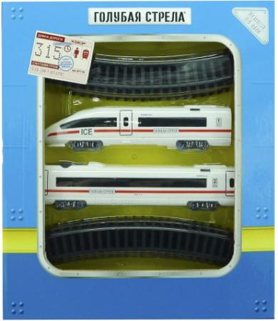 Железная дорога Голубая стрела Скоростной поезд, 14дет., свет, звук 87179 цена