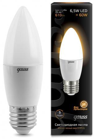 Лампа светодиодная E14 6.5W 2700К свеча матовая 103101107