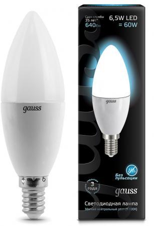 Лампа светодиодная свеча Gauss 103101207 E14 6.5W 4100K лампа светодиодная gauss 103101207 d e14 c38 7вт