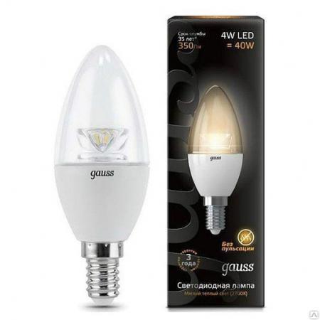 Лампа светодиодная E27 4W 2700К свеча прозрачная 103202104