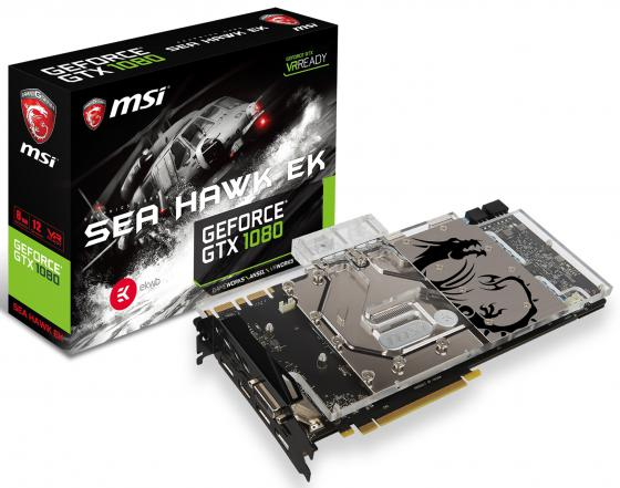 Видеокарта 8192Mb MSI GeForce GTX 1080 SEA HAWK EK X PCI-E 256bit GDDR5X DVI HDMI DP HDCP Retail видеокарта msi geforce gtx 1060 1594mhz pci e 3 0 6144mb 8100mhz 192 bit dvi hdmi hdcp gtx 1060 gaming x 6g