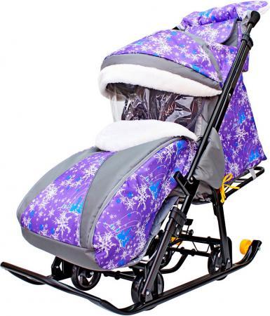 Санки-коляска R-Toys Snow Galaxy Luxe: Елки до 50 кг ткань искусственная кожа пластик фиолетовый Елки на фиолетовом на больших мягких колесах+сумка+муфта тюбинги r toys snow auto mini
