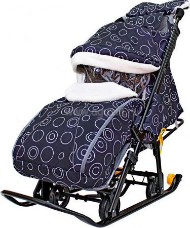 Санки-коляска Snow Galaxy LUX до 50 кг ткань искусственная кожа пластик черный Круги на черном на больших мягких колесах+сумка+муфта