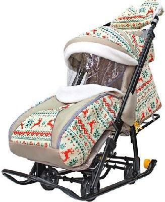 Санки-коляска Snow Galaxy LUXE Белая ночь Олени оранжевые до 50 кг ткань мех пластик металл на больших мягких колесах+сумка+муфта