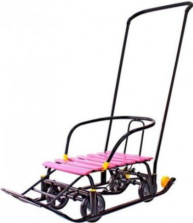 Снегомобиль Snow Galaxy Black Auto до 50 кг пластик металл черный розовые рейки на больших мягких колесах