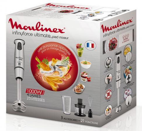 Блендер погружной Moulinex DD876D10 1100Вт серебристый блендер погружной moulinex dd885d39