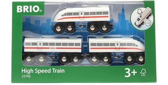 Пассажирский поезд- экспресс  Brio со звуком,3 дерев.ваг.,35х3х5см,кор. 33748 brio поезд 33595