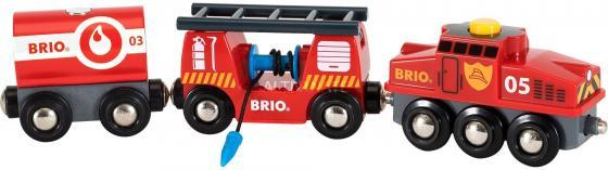 Пожарный поезд Brio,3 ваг.,выдвижн.лестница,водяной шланг,27х5х15см,кор. brio поезд 33595