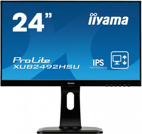 Монитор 23.8 iiYama XUB2492HSU-B1 черный IPS 1920x1080 250 cd/m^2 5 ms HDMI DisplayPort VGA Аудио USB монитор 23 iiyama prolite xub2390hs b1 черный ah ips 1920x1080 250 cd m^2 5 ms аудио dvi hdmi vga