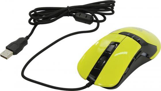 Мышь проводная Oklick 865G жёлтый USB oklick 865g snake black orange игровая мышь
